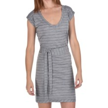 Icebreaker Superfine 200 Villa Dress - Merino Wool, V-Neck, Short Sleeves (For Women) in Metro/Blizzard - Closeouts