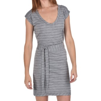 Icebreaker Superfine 200 Villa Dress - Merino Wool, V-Neck, Short Sleeves (For Women) in Metro/Blizzard