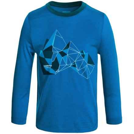 Icebreaker Tech Glass Mountain Shirt - Merino Wool, Long Sleeve (For Little and Big Kids) in Awesome/Night - Closeouts