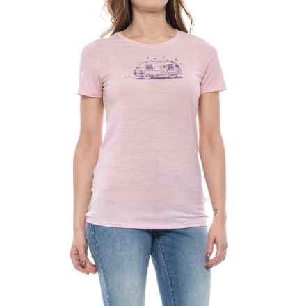 Icebreaker Tech Lite Caravan T-Shirt - Merino Wool, Short Sleeve (For Women) in Glow - Closeouts