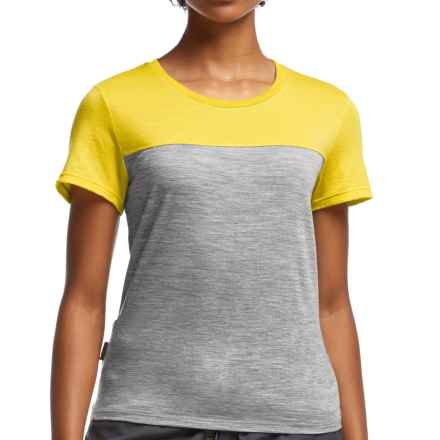 Icebreaker Tech Lite Color-Block T-Shirt - UPF 30+, Merino Wool, Short Sleeve (For Women) in Metro Heather/Fuse - Closeouts