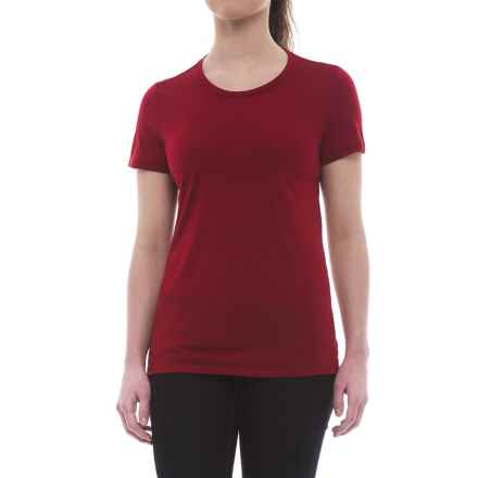 Icebreaker Tech Lite Crewe T-Shirt - UPF 20+, Merino Wool (For Women) in Oxblood - Closeouts