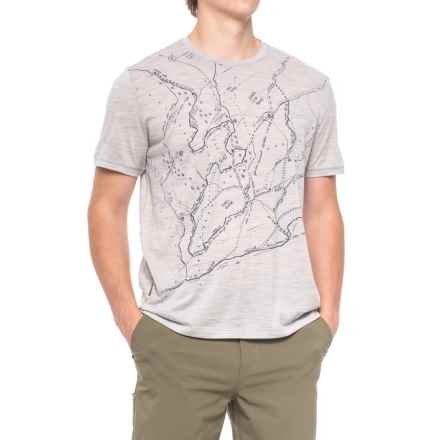 Icebreaker Tech Lite Finding the Way Shirt - Merino Wool, Short Sleeve (For Men) in Blizzard Heather - Closeouts