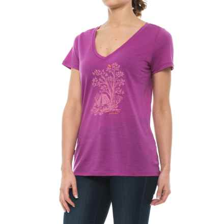 Icebreaker Tech Lite Gone Bush Shirt - Merino Wool, Short Sleeve (For Women) in Sweetpea - Closeouts