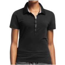 Icebreaker Tech Lite Polo Shirt - UPF 20+, Merino Wool, Short Sleeve (For Women) in Black/Metro Heather - Closeouts