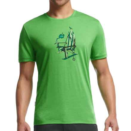 Icebreaker Tech Lite Ski Rocker Shirt - UPF 20+, Merino Wool Blend, Short Sleeve (For Men) in Balsam - Closeouts