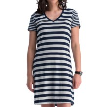 Icebreaker Tech Lite Stripe Dress - UPF 20+, Merino Wool, Short Sleeve (For Women) in Admiral/Snow/Admiral - Closeouts