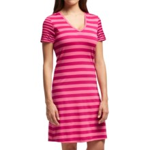 Icebreaker Tech Lite Stripe Dress - UPF 20+, Merino Wool, Short Sleeve (For Women) in Raspberry/Shocking/Raspberry - Closeouts