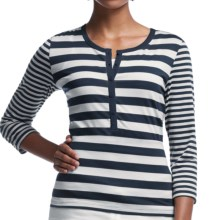 Icebreaker Tech Lite Stripe Henley Shirt - UPF 20+, Merino Wool, 3/4 Sleeve (For Women) in Admiral/Snow/Snow - Closeouts