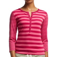 Icebreaker Tech Lite Stripe Henley Shirt - UPF 20+, Merino Wool, 3/4 Sleeve (For Women) in Raspberry/Shocking/Snow - Closeouts