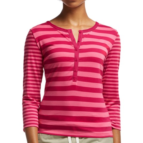 Icebreaker Tech Lite Stripe Henley Shirt UPF 20+, Merino Wool, 3/4 Sleeve (For Women)