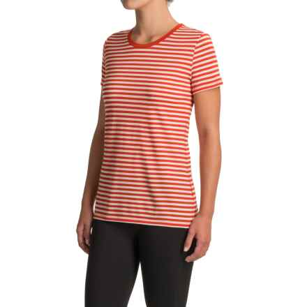 Icebreaker Tech Lite Stripe Shirt - Merino Wool, Short Sleeve (For Women) in Molten/Snow/Molten - Closeouts