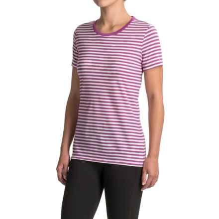 Icebreaker Tech Lite Stripe Shirt - Merino Wool, Short Sleeve (For Women) in Sweetpea/Snow/Sweetpea - Closeouts