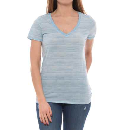Icebreaker Tech Lite Stripe Shirt - UPF 20+, Merino Wool, Short Sleeve (For Women) in Mist Blue Heather/Snow/Stripe - Closeouts
