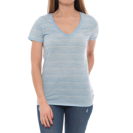 Icebreaker Tech Lite Stripe Shirt - UPF 20+, Merino Wool, Short Sleeve (For Women) in Mist Blue Heather/Snow/Stripe