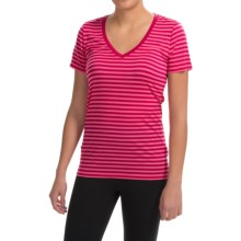 Icebreaker Tech Lite Stripe Shirt - UPF 20+, Merino Wool, Short Sleeve (For Women) in Raspberry/Shocking/Raspberry - Closeouts