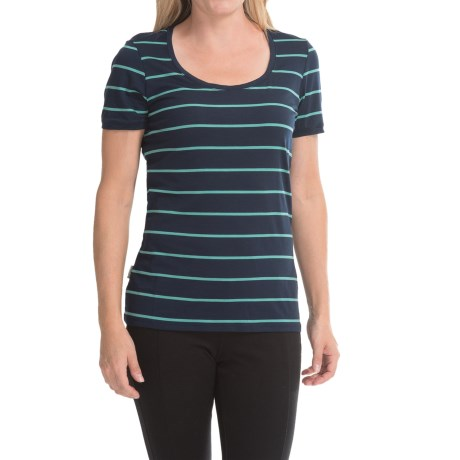 Icebreaker Tech Lite Stripe T Shirt Merino Wool, UPF 20+ Short, Sleeve (For Women)