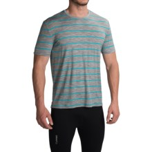Icebreaker Tech Lite Stripe T-Shirt - UPF 20+, Merino Wool, Short Sleeve (For Men) in Metro Heather/Aquamarine - Closeouts