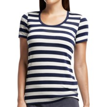 Icebreaker Tech Lite Stripe T-Shirt - UPF 20+, Merino Wool, Short Sleeve (For Women) in Admiral/Snow/Admiral - Closeouts