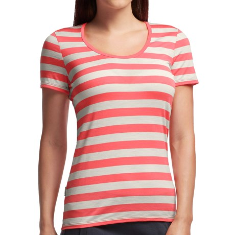 Icebreaker Tech Lite Stripe T Shirt UPF 20+, Merino Wool, Short Sleeve (For Women)