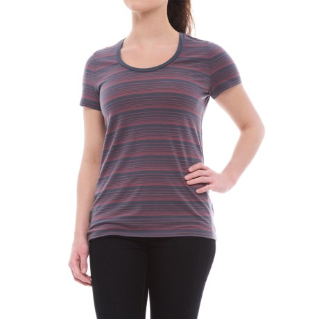 Icebreaker Tech Lite Stripe T-Shirt - UPF 20+, Merino Wool, Short Sleeve (For Women) in Gumtree/Tulip/Stripe