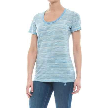 Icebreaker Tech Lite Stripe T-Shirt - UPF 20+, Merino Wool, Short Sleeve (For Women) in Mist Blue Heather/Snow/Stripe - Closeouts