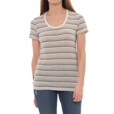 Icebreaker Tech Lite Stripe T-Shirt - UPF 20+, Merino Wool, Short Sleeve (For Women) in Snow/Black/Stripe