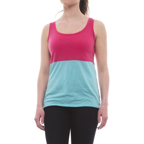 Icebreaker Tech Lite Tank Top - Merino Wool (For Women) in Shocking/Water