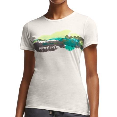 Icebreaker Tech Lite Tropical Canopy T Shirt UPF 20+, Merino Wool, Short Sleeve (For Women)