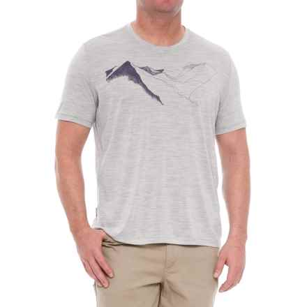 Icebreaker Tech Lite Wellington In Awe T-Shirt - Merino Wool, Short Sleeve (For Men) in Blizzard Heather - Closeouts