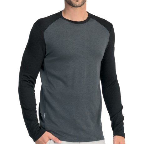 Icebreaker Tech Shirt - UPF 30+, Merino Wool, Midweight, Long Sleeve (For Men) in Charcoal/Black