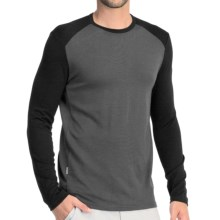 Icebreaker Tech Shirt - UPF 30+, Merino Wool, Midweight, Long Sleeve (For Men) in Monsoon/Black - Closeouts