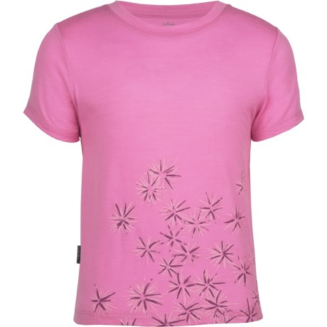 Icebreaker Tech T Lite Ridge T-Shirt - UPF 39+, Merino Wool, Short Sleeve (For Kids) in Scatter Peony