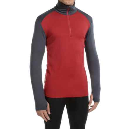 Icebreaker Tech Top BodyFit Base Layer Top - Merino Wool, Zip Neck (For Men) in Oxblood/Stealth/Oxblood - Closeouts