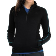 Icebreaker Tempest Zip Neck Sweater - Merino Wool, UPF 50+, Long Sleeve (For Women) in Black/Gulf Stitch - Closeouts