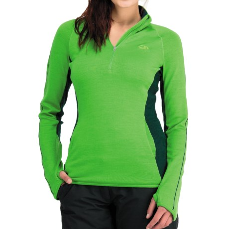 Icebreaker Tempest Zip Neck Sweater - Merino Wool, UPF 50+, Long Sleeve (For Women) in Bone