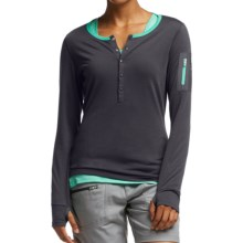 Icebreaker Terra Henley Shirt - UPF 20+, Merino Wool, Long Sleeve (For Women) in Panther/Patina - Closeouts