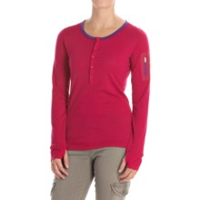 Icebreaker Terra Henley Shirt - UPF 20+, Merino Wool, Long Sleeve (For Women) in Raspberry/Emperor - Closeouts