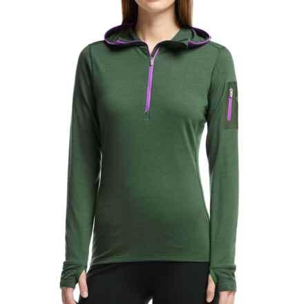 Icebreaker Terra Hooded Shirt - Merino Wool, Zip Neck (For Women) in Conifer/Sweetpea - Closeouts