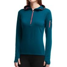 Icebreaker Terra Hooded Shirt - Merino Wool, Zip Neck (For Women) in Night/Grapefruit - Closeouts