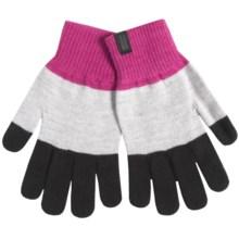 Icebreaker Terra Merino Wool Gloves - Touchscreen Compatible (For Men and Women) in Magenta/Cognac/Blizzard Heather - Closeouts