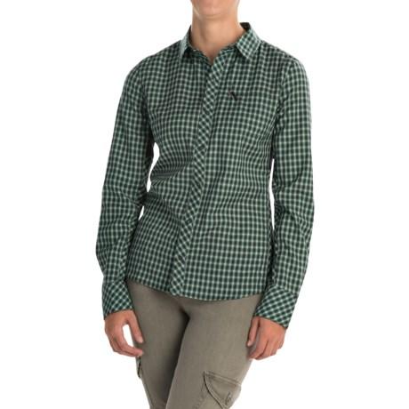Icebreaker Terra Plaid Shirt - Merino Wool, UPF 20+, Long Sleeve (For Women) in Panther/Panther
