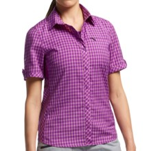 Icebreaker Terra Plaid Shirt - UPF 30+, Merino Wool, Short Sleeve (For Women) in Emperor/Vivid - Closeouts