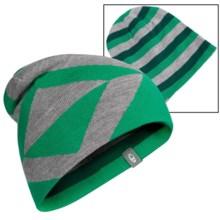 Icebreaker Valor Beanie Hat - UPF 20+, Merino Wool, Reversible (For Men and Women) in Lucky/Metro Heather/Bottle - Closeouts