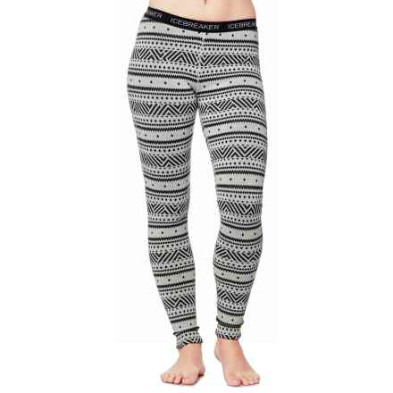 Icebreaker Vertex Icon BodyFit Base Layer Pants - Merino Wool (For Women) in Snow/Jet Heather/Black - Closeouts