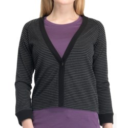 Icebreaker Via 260 Cardigan Sweater - UPF 30+, Merino Wool, 3/4 Sleeve (For Women) in Jet Heather/Black