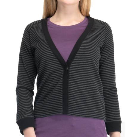 Icebreaker Via 260 Cardigan Sweater - UPF 30+, Merino Wool, 3/4 Sleeve (For Women) in Gulf/Capri
