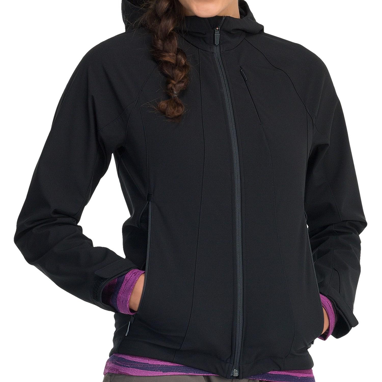 Womens soft shell jacket with hood