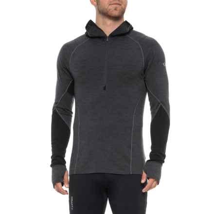 Icebreaker Winter Zone Hooded Shirt - Merino Wool, Zip Neck Long Sleeve (For Men) in Jet Heather/Black/Lunar - Closeouts