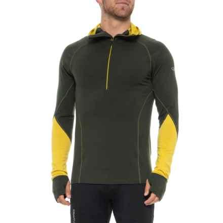 Icebreaker Winter Zone Hooded Shirt - Merino Wool, Zip Neck Long Sleeve (For Men) in Kale/Sulfur/Sulfur - Closeouts